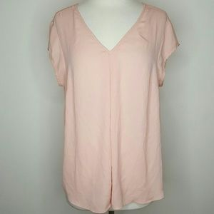 Peach pink v neck blouse top